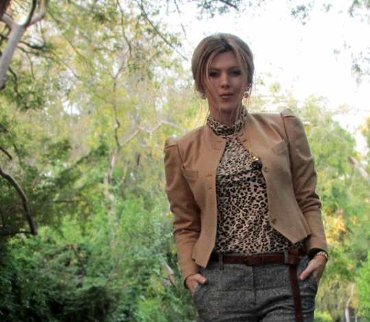 camel jacket+leopard shirt+tweed pants