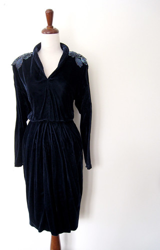 Midnight Velvet Sparkling Applique Dress, Vintage 80's