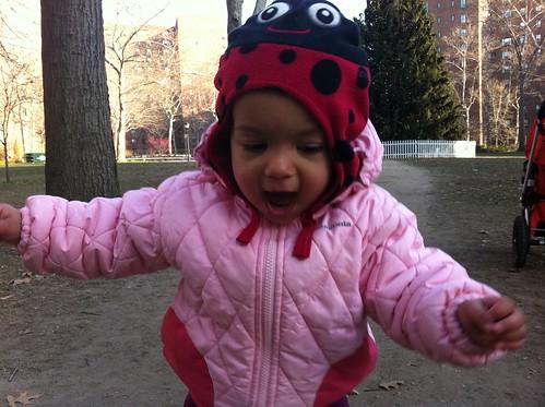 Laila running around on Saturday morning