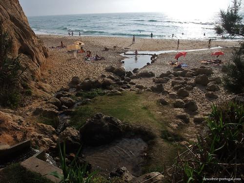 Riacho de agua doce que atravessa a praia