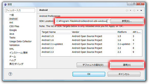 EclipseにAndroid SDKを設定