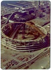 Kingdome - Seattle 1975 (KurtClark) Tags: seattle skyline washington october ride helicopter 1975 wa helicopterflight sodo kingdome october1975
