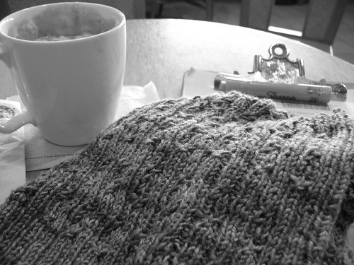 Hot chocolate and knitting
