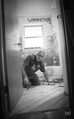 Oh Joy! (barbdpics) Tags: blackandwhite monochrome joy portraitphotography peoplephotography bathroomrenovation gripskw nikond300s ourdailychallenge barbdpics joyofrenovatingabathroom