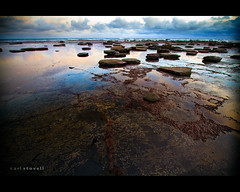 Low Tide, Saltwick Bay, North Yorkshire, England (Carl Stovell) Tags: uk travel sea england sky reflection wet clouds sunrise canon landscape bay coast seaside rocks walks angle yorkshire tide north wide coastal pools 7d 1022mm saltwick