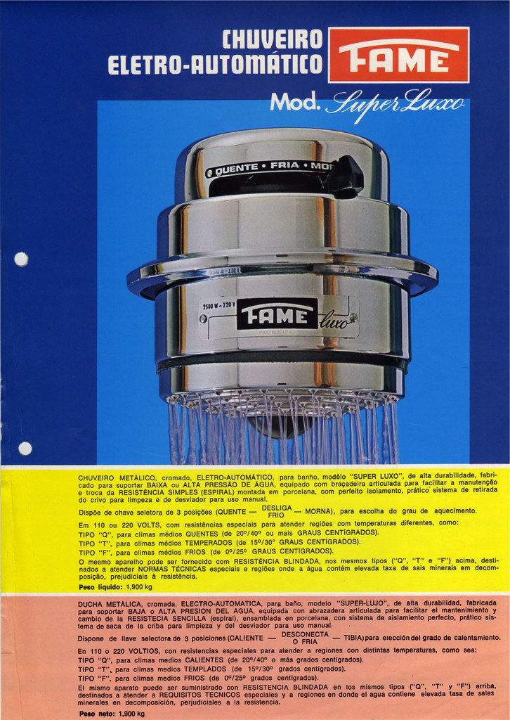 1977 ad for FAME electric shower