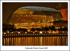 Esplanade Theatre Concert Hall (Lock Stock and Travel) Tags: ocean building water architecture lights nikon singapore nightshot esplanade concerthall marinabay esplanadetheatre d700 davidnaylor esplanadetheatreconcerthall