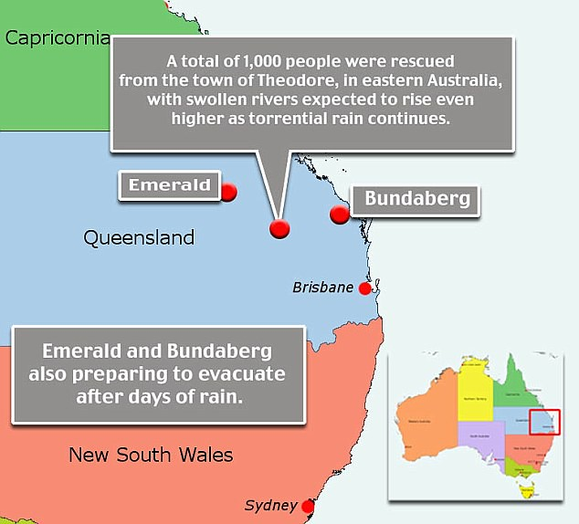 Residents have been evacuated from a number of town in Queensland following torrential downpours that have left many communities under water