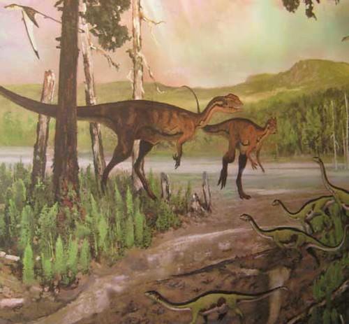 (Not So) Old Paleoart at MOS - Dilophosaurus mural