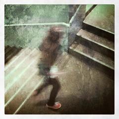 orange shoe (Janine Graf) Tags: cameraphone seattle apple girl stairs running wa psc lurking pacificsciencecenter orangeshoe iphone4 iphonephotography janine1968 irisphotosuite