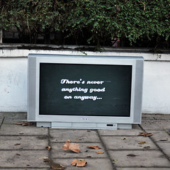 Why don't you just switch off the television set? (id-iom) Tags: street england urban london art television set graffiti tv stencil box vandalism switchoff idiom whydontyou
