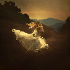the daydreamers (brookeshaden) Tags: trees sky motion mountains field dress o away run hills twirl daydream lindis brookeshaden texturebylesbrumes ilovethosetexturessodarnmuch