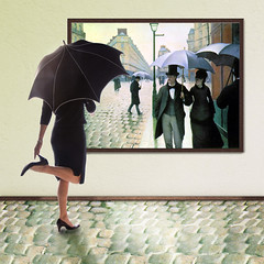 Rainy Day at the Museum (YetAnotherLisa) Tags: selfportrait rain umbrella heels bsquare teleidoscope truthandillusion gustavecaillebotteparisstreetrainyday