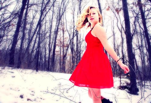 フリー写真素材, 人物, 女性, 森林, 雪, ドレス,