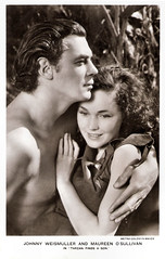 Johnny Weissmuller and Maureen O'Sullivan in Tarzan Finds A Son! (1939) (Truus, Bob & Jan too!) Tags: cinema film sepia vintage movie star kino king jane postcard picture cine screen american jungle hollywood actress johnny maureen movies actor postal mgm tarzan postale cartolina carte postkarte osullivan filmstar ansichtkaart filmster postkaart weismuller weissmuller metrogoldwynmayer johnnyweissmuller maureenosullivan tarjet tarzanfindsason johnnyweismuller