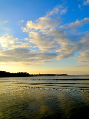 Plage du ris  Douarnenez (Kerelrobert) Tags: blue light sunset sea sky orange mer france beach church yellow photoshop jaune landscape countryside brittany lumire sable wave bretagne bleu ciel photomontage modified nuage paysage vague glise plage could coucherdesoleil douarnenez finistre clocher ris modifi