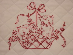 Redwork Kitty Quilt 007