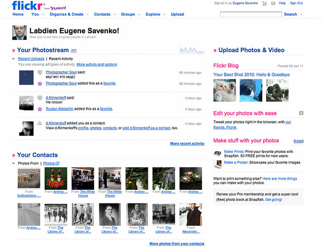 Flickr front-page view