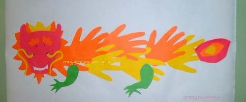 CNY craft : handprints Chinese dragon craft