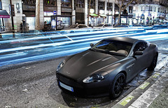 Aston Martin DB9 (__martin__) Tags: street blue black paris cars night nikon noir boulevard haussmann martin british autos gt mate tamron aston spotting exotics db9 d80 fullblack carsightings