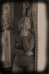 These Four Walls (GoldnGirl (taking a break)) Tags: bw selfportrait eos availablelight bodylanguage emotions redshirt bedroomwindow goldngirl