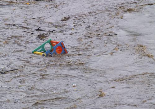 Children's playground floating down the river - Brisbane Floods