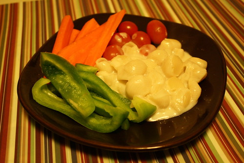 veggies and white cheesy noodles