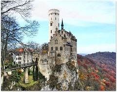 Castle on the Rocks (Habub3) Tags: park travel bridge autumn vacation house holiday building tree tower castle nature leaves architecture fairytale germany landscape deutschland nikon europa europe herbst natur haus historic architektur historical environment alb brcke schloss turm landschaft baum gebude hdr environs medival vacanze burg lichtenstein reise umgebung d300 mittelalter schwbischealb wrttemberg reutlingen 2011 mrchenschloss abigfave habub3 middleadge
