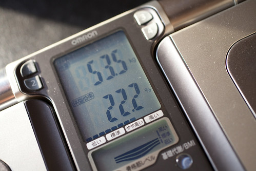172cm53.5kgで体脂肪率22.2%