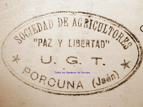 Sociedad de Agricultores Paz y Libertad (UGT). Porcuna