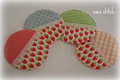 fabric coaster (coco stitch) Tags: cute strawberry fabric round coaster