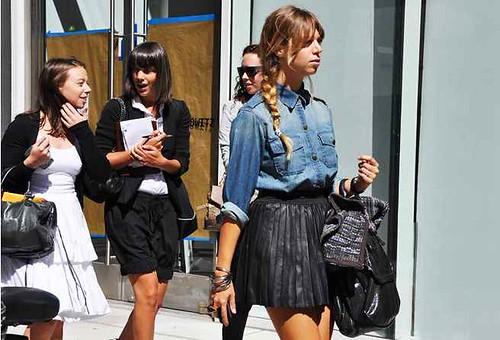 denim braid pleated leather skirt tommy ton