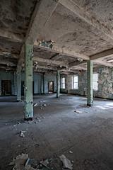 witness I (rustyjaw) Tags: door windows abandoned pain chair room urbandecay urbanexploration peel pillars asylum beams hdr psychiatrichospital newjerseystatehospital