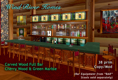 Carved Wood Full Bar by Teal Freenote