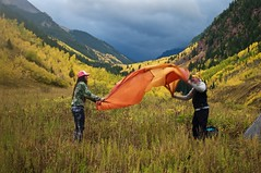 Naomi and Kuba (emily-mcb) Tags: camping backpacking colorado conundrumpeak hotspring landscape people tent valley aspen trees nature