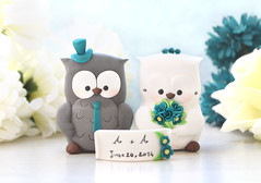 Owls wedding cake topper - grey white teal banner (PassionArte) Tags: owl gufo cake toppers bride groom ivory white tan brown gray grey purple teal green red rainbow names handmade etsy personalized unique cute country rustic funny elegant custom bouquet bridal gift anniversary