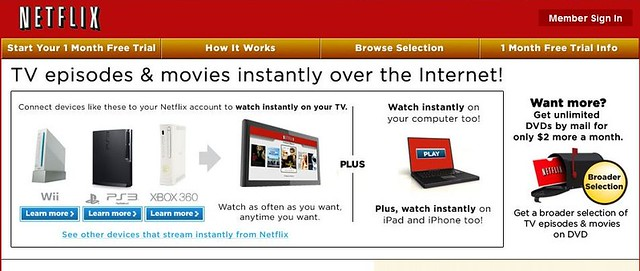 Netflix streaming option
