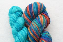 Yarn Pirate Aran BFL-- Rainbow + Aqua Trim