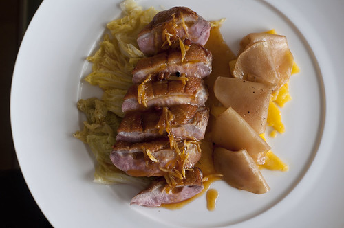 roasted duck with mango and turnip above