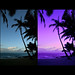 Tropical paradise sunset - tutorial comparison