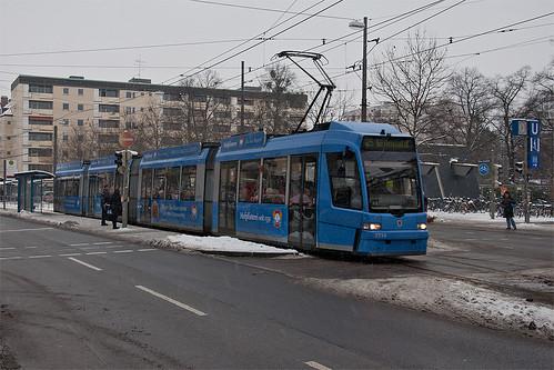 Kurs 6 wendete am St.-Martins-Platz, er war heute mit R3 statt P-Wagen besetzt.