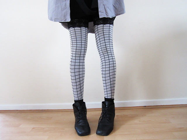 american apparel grid tights