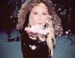 hello, December! (Shandi-lee) Tags: winter selfportrait snow cute green girl night dark happy snowflakes evening eyes hands december alone snowy joy longhair happiness blowing lips wintercoat nighttime blonde snowing blowingsnow snowfalling realsnow longblondehair furhood shandilee holdingsnow snowinhands horriblephotoshopskillz dwcffselfies