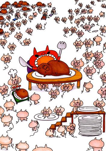 群衆絵_ぶたっこむーと、豚の丸焼きを食べるがーあにまる