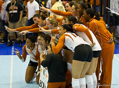 Celebrating for the ESPNU Camera (TxSportsPix) Tags: austin texas volleyball longhorn ncaa regional 2010 70200lf28 canon7d txsportspix canon7d70200lf28