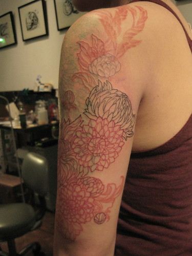 Dahlia color gradiant tattoo- in progress!