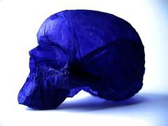 colour collection paper sculpture: blue paper skull (polyscene) Tags: sculpture art paper paperart polly poly verity papersculpture polyscene pollyverity papersculptures