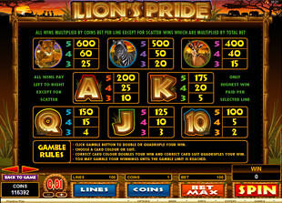 free Lion's Pride slot mini symbol
