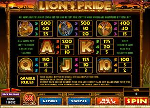 free Lion's Pride slot mini symbol