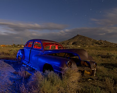 On The Fringe (Lost America) Tags: lightpainting night clouds rust desert nevada timeexposure windsor chrysler startrails goldfield abandonedcar nocturnes